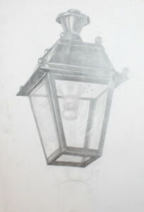 VINTAGE PENCIL DRAWING STREET LAMP LANTERN