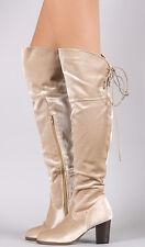 Beige/Champagne Knee High Chunky Heel Boots, US 11