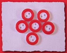 LOT 6 BOUTONS  Blanc cerclé Rouge * 12 mm 1,2 cm * 2 trous * button red white