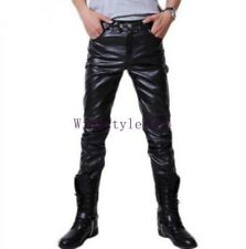Mens PU Leather Slim Fit Pants Casual Trousers Clubwear Fashion Motorcycle Pants