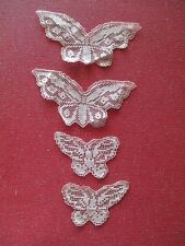 SET OF FIVE ANTIQUE LACE BUTTERFLY APPLIQUES