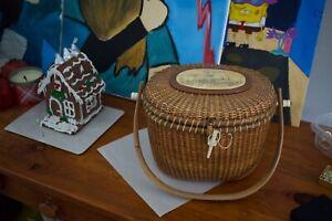 Vintage Nantucket Friendship Basket With Scrimshaw Signed