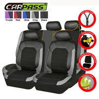 Universal Black Grey Leather Mesh Car Seat Covers Rear Split Airbag For SUV VAN