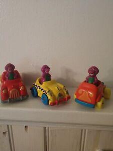 Lot of 3 Barney 1993 Lyons Group metal Die Cast Cars