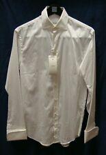 ARMANI COLLEZIONI Men Solid White L/S Button Down Shirt Size 37  14.5R NWD $245