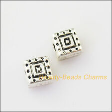 25Pcs Antiqued Silver Tone Square Cube Spacer Beads Charms 6mm