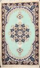 Vintage Traditional Hand-knotted Area Rug Geometric Oriental Wool Carpet 1x2 ft