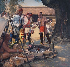 """""""The Ceremonial Pipe and Artist Benjamin West"""" - John Buxton Giclee Canvas"""