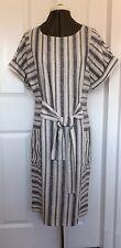 Asos Striped Linen Mix Dress Short Sleeve Loose Fit Black White UK 8 To Knee