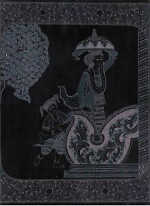 BURMESE LACQUERWARE PICTURE~HAND ENGRAVED WALL ART~WALKING LADY~16 X 12 INCHES