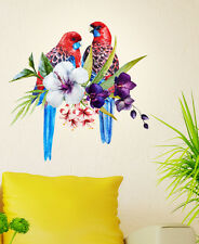 6400020 | Wall Stickers Birds Tropical on Floral Branch Backdrop