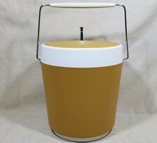 70'S ICE BUCKET WEST BEND THERMO SERVE LARGE 4 QUART DOUBLE WALL HARVEST GOLD 9""