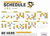 NHL Pittsburgh Penguins 2019 Hockey Schedule Poster 12x18 or 24x36 or 27x40
