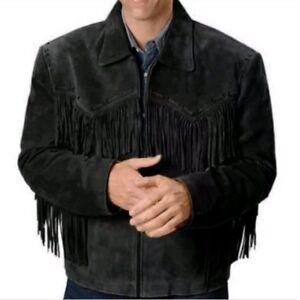 Men Suede Western Cowboy Leather Jacket With Fringe - Black