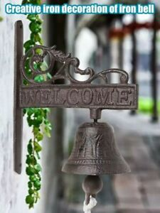 Vintage Cast Iron Dinner Bell Outdoor Wall Hanging Antique Doorbell knocker PET