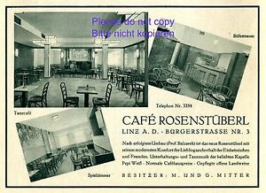 Cafe Rose Room Linz Austria 1930 ad Austrian advertising owner Mittig +
