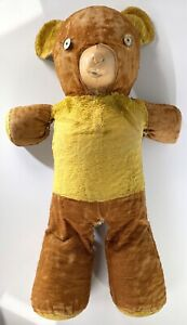 "Antique Vintage TEDDY BEAR Large 26"" w/ Rubber Face Stuffed Plush Animal Cubbi"