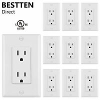 10PK BESTTEN 15A Decor Wall Outlet Electrical Receptacle w/ Wallplate UL White