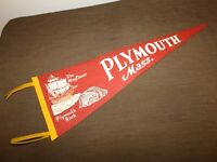 "VINTAGE 27"" LONG PLYMOUTH MASS MAYFLOWER ROCK  CLOTH PENNANT"