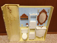Barbie Doll Bratz World House Mansion Wall Reversible Living Room Bath Bathroom