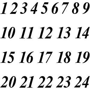 Zahlen 1 bis 24 Ziffern Höhe 2cm Aufkleber Tattoo Deko Advent Kalender Basteln