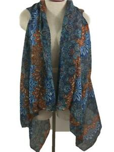 fashion shawl with armholes brown blue floral polyester lightweight 17 x 30