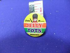 vtg tin badge sweets confectionery rowntrees jelly tots sentry 1970s advertising