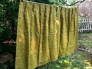 "Vintage Pair Retro Mid Century Modern Curtains Drapes Pinch Pleat Green 25""x44"""