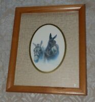 Vintage Framed Print of 2 Donkeys by Mitchell Tolle 8x10 Wood Frame Jack Ass