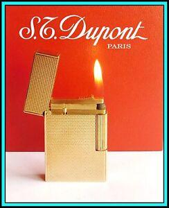 S.T. Dupont Line 2 Gold Plated Lighter / Briquet / Feuerzeug - JUST SERVICED