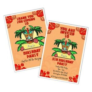 PERSONALISED TIKI ORANGE TROPICAL BIRTHDAY PARTY INVITATION THANK YOU CARD