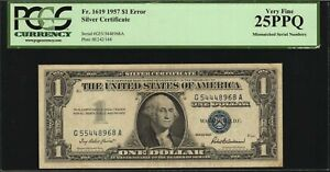 1957 $1 Silver Certificate Error Mismatched Serial Numbers PCGS VF25 PPQ Fr.1619