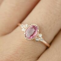 2Ct Oval Cut Pink Diamond Solitaire Engagement Ring Solid 14K Rose Gold Finish