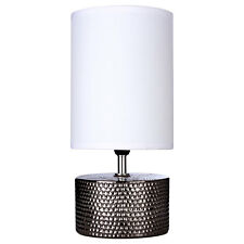Ceramic Table Lamp Black Chrome Base Bedside Office Home White Fabric Shade