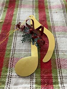 Golden Music Note With Red Bow Christmas Ornament