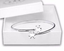 Autism Awareness 2 Puzzle Piece Design Elegant Bangle (Bracelet)
