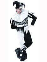 Mens Halloween Medieval Harlequin Jester Joker Clown Fancy Dress Costume Outfit