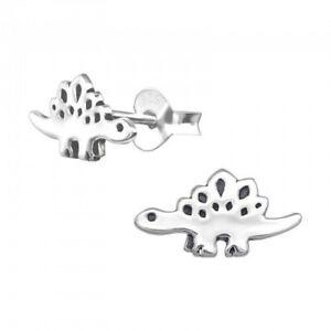 925 Sterling Silver Dinosaur Stegasaurus Stud Earrings - Boxed