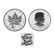 2012 Reverse Proof Canada 1oz  Silver Maple Leaf Coin  Lunar Dragon Privy