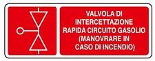 Cartello segnaletica valvola intercettazione gasolio in alluminio 330x125mm