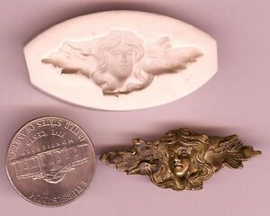 Detailed Victorian Lady GODDESS W/ Leaves Hard Polymer Clay Push Mold #3