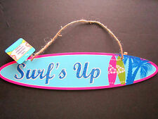 """Surf's Up Tropical LUAU Bright Colorful Blue Wood Surfboard Shape Sign 16""""x4""""NEW"""