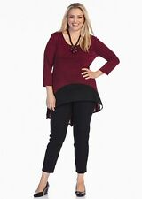 TS Plus Size L Red Black 3/4 Sleeve Hi Lo Knit Top Fit Plus Size 26/28 NWT