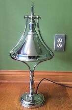 Art Deco Chrome Over Brass Antique Vintage Adjustable Table Lamp Light