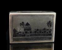 Vintage silver niello match safe, match book holder
