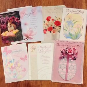 Lot of 7 Assorted EASTER CARDS & Env ~ Wife, Daughter, Godchild, Granddaughter +