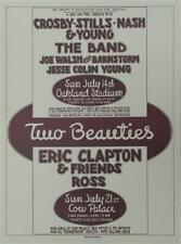 2 BEAUTIES CROSBY STILLS NASH YOUNG ERIC CLAPTON ROCK POSTER RANDY TUTEN SIGNED