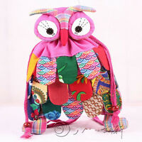 Thai Hmong OWL Unique Vintage Embroidered Handmade Patchwork Backpack pink Bag