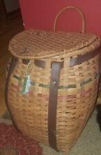Huge Vintage Wicker Fishing Creel Basket w/Leather Strap~Red/Green Weaving!