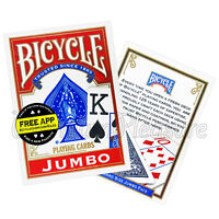 2 Decks x Bicycle JUMBO index playing cards Rider back Red or Blue Poker NEW USA